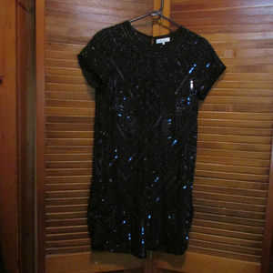 Parker black embellished beaded dress size sm